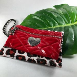 2 Brighton Wristlets Cosmetic Bags Red and Leopard